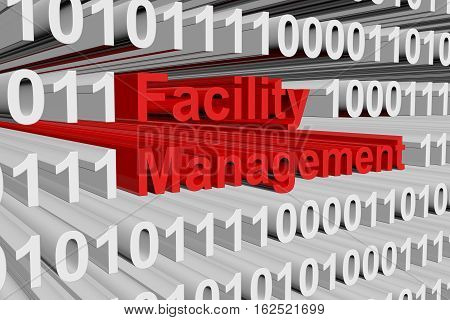 Facility management in the form of binary code, 3D illustration