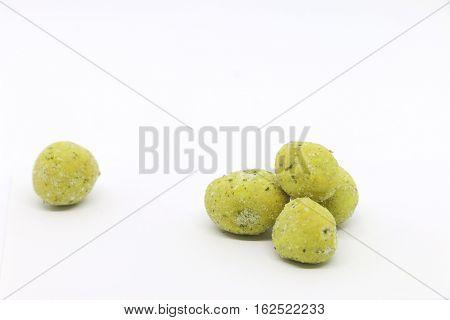 Peanut coat wasabi on the white background