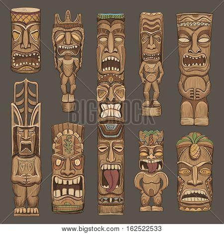 Collection of wooden tiki idols . Beautiful color illustration