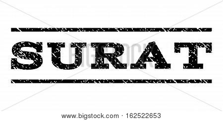Surat watermark stamp. Text caption between horizontal parallel lines with grunge design style. Rubber seal stamp with scratched texture. Vector black color ink imprint on a white background.