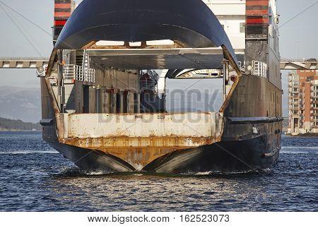 Norwegian ferry detail in Stavanger city. Norway. Highlight