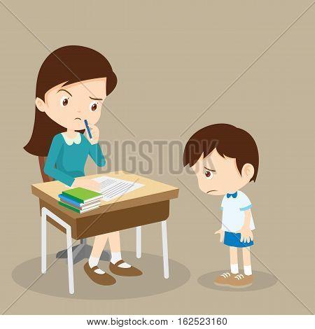Guilty Student Boy And Teacher