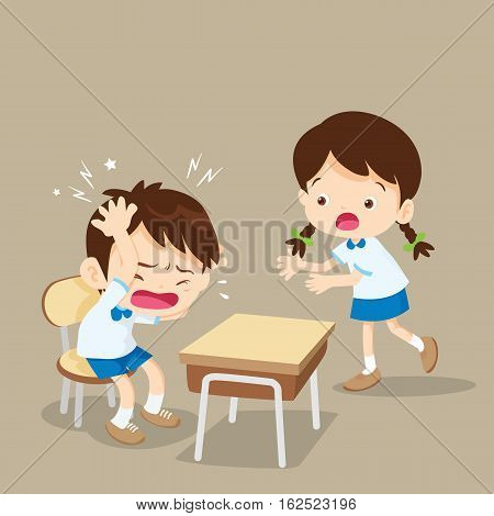 Student Girl Helping Friend Have Headache
