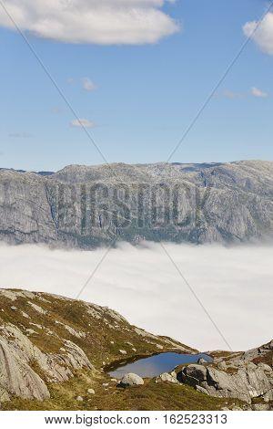 Norwegian fjord landscape. Lysefjorden area. Preikestolen route. Norway adventure tourism