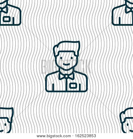 Waiter Icon Sign. Seamless Pattern With Geometric Texture. Vector