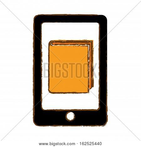 modern cellphone with book icon image vector illustration design