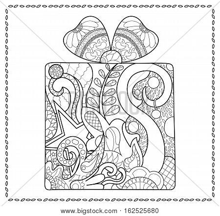 Christmas gift adult coloring page. New year present for coloring. Winter holiday adult coloring book page. Doodle present box with a ribbon bow. Seasonal coloring page for adults. Coloring card