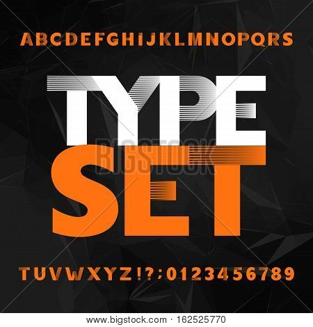 Decorative alphabet typeface. Bold type letters and numbers on a polygonal background. Vector font for headlines, posters, etc.