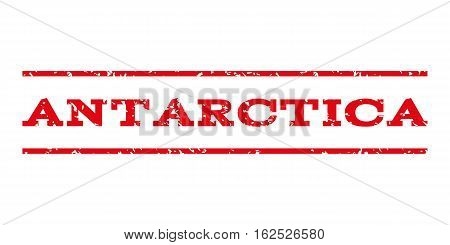 Antarctica watermark stamp. Text tag between horizontal parallel lines with grunge design style. Rubber seal stamp with scratched texture. Vector intensive red color ink imprint on a white background.