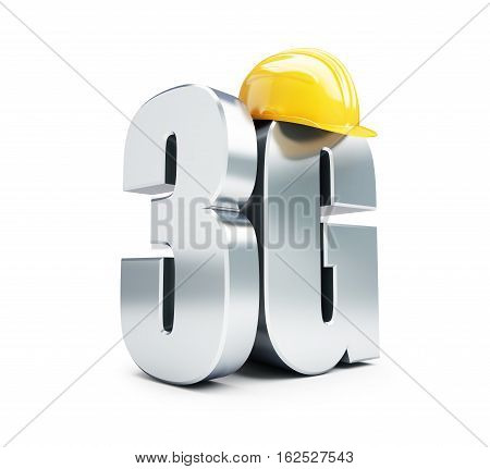 3G sign 3G construction helmet high speed data wireless connection. 3d Illustrations on white background
