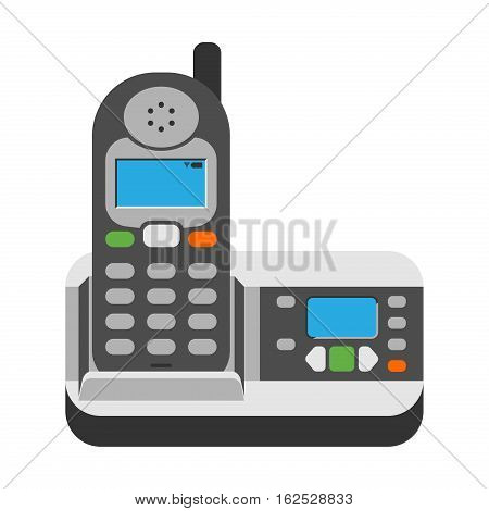 Office business phone and icon of classic connection vector. Modern style technology call vector illustration isolated. Analog electronic gadget with antenna and keypad.
