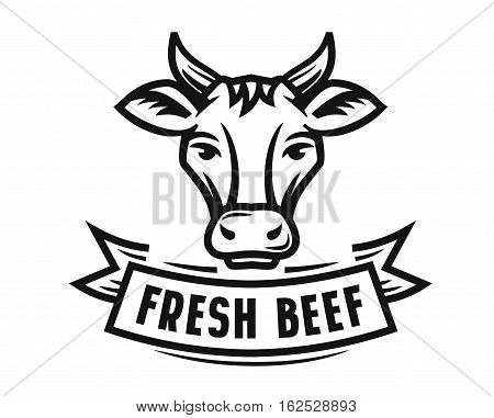 holstein cow portrait stylized vector symbol on white