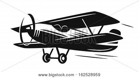 Vector black retro biplane on white background