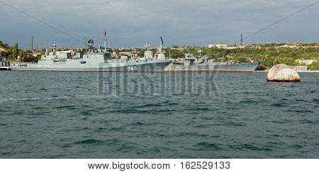 Sevastopol, Russia - June 09, 2016: Newest patrol ship Admiral Grigorovich 745 and Kara-class missile cruiser Kerch 753