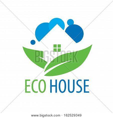 template design logo eco house. Vector illustration of icon