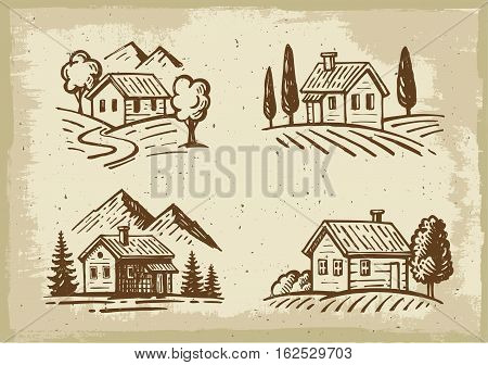 vector summer landscape cottage house with trees