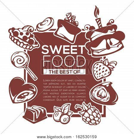 dessert menu vector template design with images of cakes berries and candies