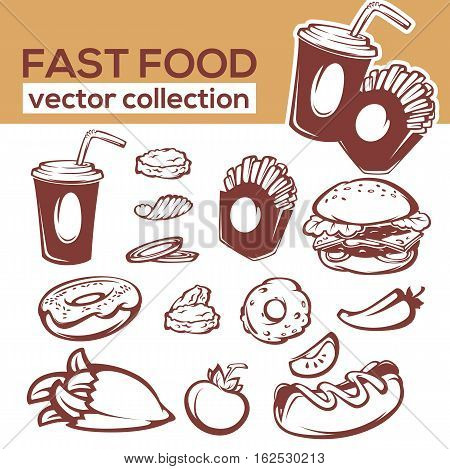 ector collection of fast food objects and ingredient for your american menu