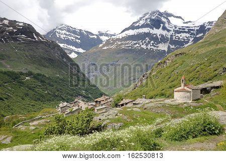 BONNEVAL-SUR-ARC, FRANCE: The hamlet L'Ecot in Vanoise National Park, Northern Alps