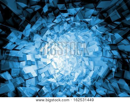 Abstract Digital Background, Blue Tunnel