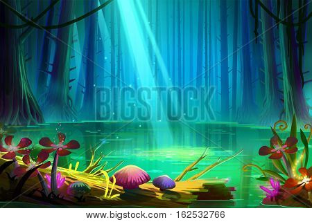 Lake inside the Deep Forest. Video Game's Digital CG Artwork, Concept Illustration, Realistic Cartoon Style Background