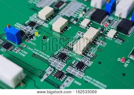 Electronic circuit board with electronic components background