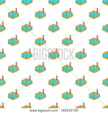 Beer bottling building pattern. Cartoon illustration of beer bottling building vector pattern for web