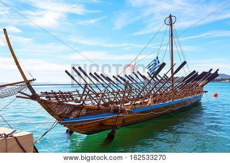 Volos, Greece - October 13, 2016: Argo legendary ship copy in port Volos, Greece. Greek mythology Argonauts sailed Argo to retrieve the Golden Fleece