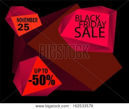 Black Friday Sale vector background. Black background with red design element. Black Friday card template with black text message. Black Friday banner. Polygonal glamour image. Sale or discount offer