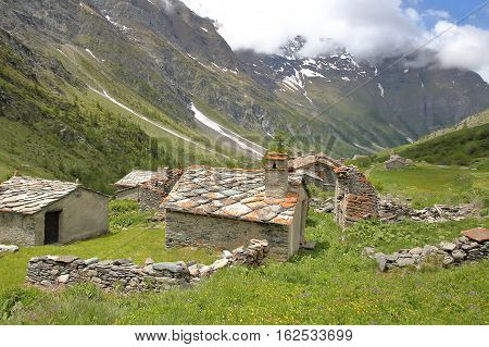 BESSANS, FRANCE: The hamlet Averole located in Averole Valley, Vanoise National Park, Northern Alps