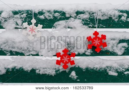 Wooden Snowflakes On Wooden Boards