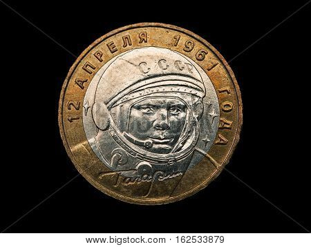 Commemorative Russian Coin With Yuri Gagarin Portrait Isolated On Black