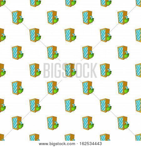Machine spilling beer pattern. Cartoon illustration of machine spilling beer vector pattern for web
