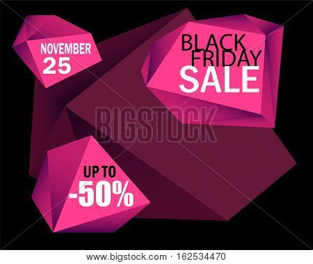 Black Friday Sale vector background. Black card background with pink diamonds. Black Friday flyer template with text place. Black Friday banner. Polygonal graphic design. Sale discount shopping offer