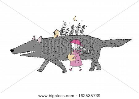 Little Red Riding Hood fairy tale. Little cute girl and big wolf. Fir forest and a small house. isolated objects on white background. Vector illustration.