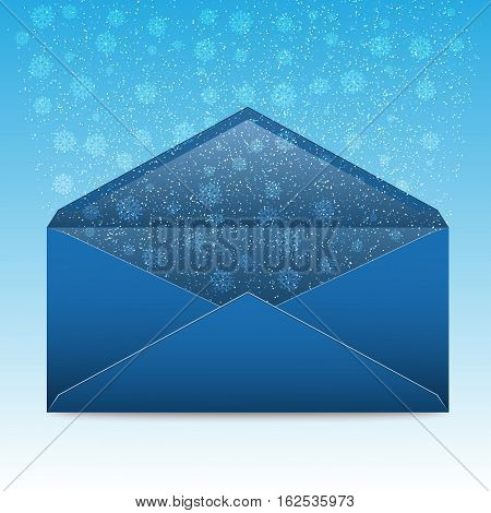 Christmas blue envelope with snowflakes and blizzard