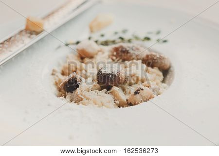 Wild mushrooms porcini risotto with rosemary and parmesan cheese. Traditional italian cuisine dish. Restaurant food closeup. Forest fungus with rice. Shallow depth of field, selective focus