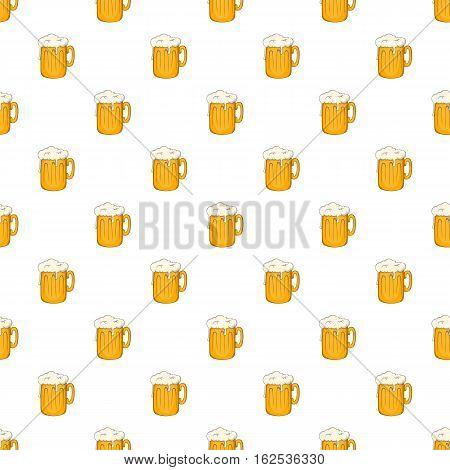 Mug with beer pattern. Cartoon illustration of mug with beer vector pattern for web
