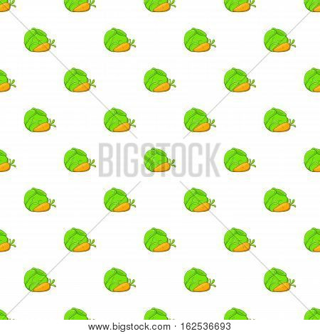 Cabbage and carrots pattern. Cartoon illustration of cabbage and carrots vector pattern for web