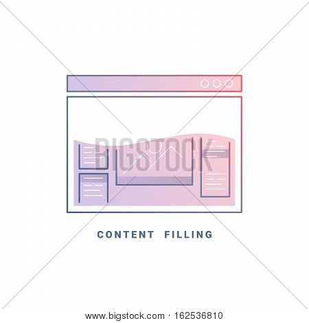 Web site content. Colored internet browser design template. Line vector illustration