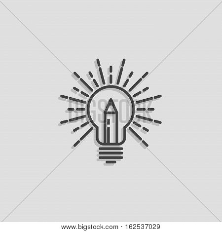 Lamp & Pencil Outline Logo Creative idea symbol vector template. Bright ideas for your business. Design studio logotype concept icon.