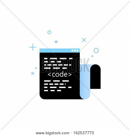 Window with code. Vector illustration. Coding process