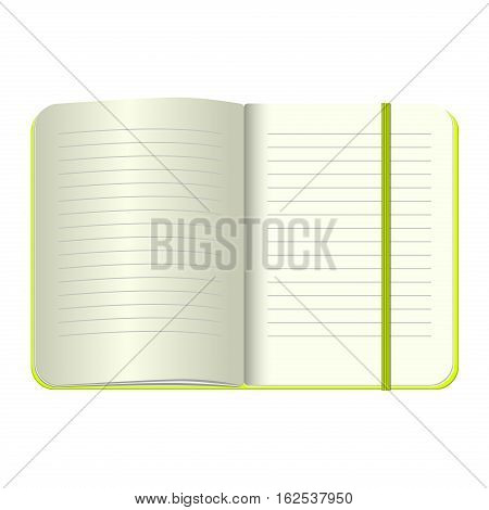 Template Open a blank notepad. Vector personal notebook with a green cover and bookmark. Isolated on white background.