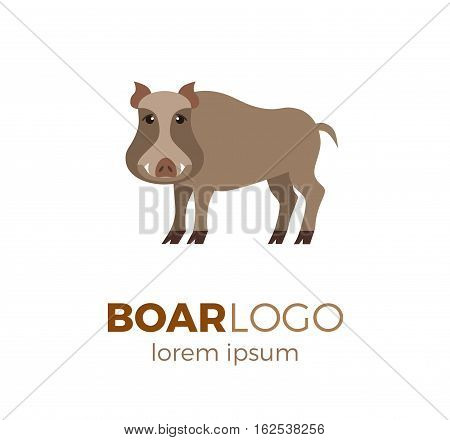 Flat vector boar logo isolated on white background. Colorful illustration of forest boar for your company logo or label. Flat style European forest animal collection