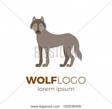 Flat vector wolf logo isolated on white background. Colorful illustration of forest wolf for your company logo or label. Flat style European forest animal collection