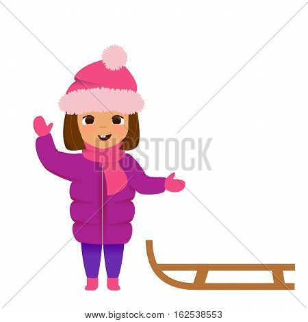 Cute girl in winter clothes with a sled isolated on white background. Cartoon style vector illustration.