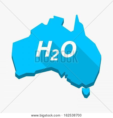 Isolated Australia Map With    The Text H2O