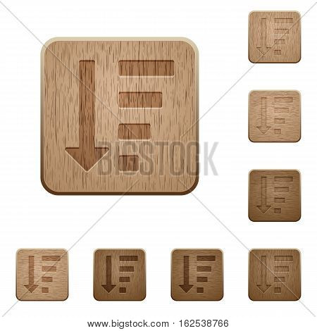 Descending ordered list mode icons on carved wooden button styles