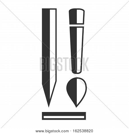 Design Flat Icon with brush and pensil on white background
