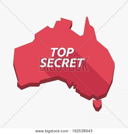 Isolated Australia Map With    The Text Top Secret